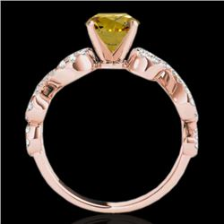 1.4 CTW Certified Si Fancy Intense Yellow Diamond Solitaire Ring 10K Rose Gold - REF-162X4T - 35249