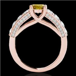 2.55 CTW Certified Si Fancy Intense Yellow Diamond Solitaire Ring 10K Rose Gold - REF-254T5X - 35515