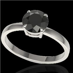 2 CTW Black VS/SI Diamond Designer Inspired Engagement Ring 18K White Gold - REF-64M2F - 22215