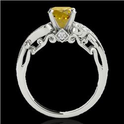 1.25 CTW Certified Si Intense Yellow Diamond Solitaire Antique Ring 10K White Gold - REF-156X4T - 34