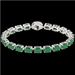 37 CTW Emerald & VS/SI Diamond Tennis Micro Pave Halo Bracelet 14K White Gold - REF-272N8Y - 23421
