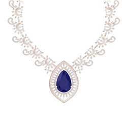 65.75 CTW Royalty Sapphire & VS Diamond Necklace 18K Rose Gold - REF-1436N4Y - 39781