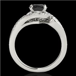 1.25 CTW Certified Vs Black Diamond Solitaire Halo Ring Two Tone 10K White Gold - REF-56W9H - 34171