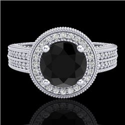 2.8 CTW Fancy Black Diamond Solitaire Engagement Art Deco Ring 18K White Gold - REF-236F4M - 38003