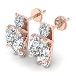 2.9 CTW Certified VS/SI Diamond 3 Stone Stud Earrings 14K Rose Gold - REF-587F3M - 30307