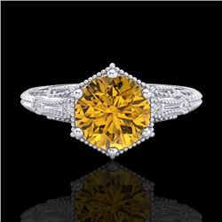 1.17 CTW Intense Fancy Yellow Diamond Engagement Art Deco Ring 18K White Gold - REF-180H2W - 38036