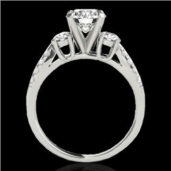 1.5 CTW H-SI/I Certified Diamond 3 Stone Ring 10K White Gold - REF-172X8T - 35403