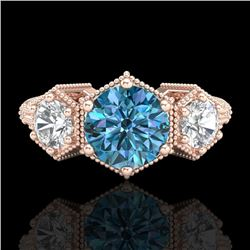 1.66 CTW Intense Blue Diamond Solitaire Art Deco 3 Stone Ring 18K Rose Gold - REF-254K5R - 38056