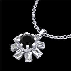 1.33 CTW Fancy Black Diamond Solitaire Art Deco Stud Necklace 18K White Gold - REF-100N2Y - 37870
