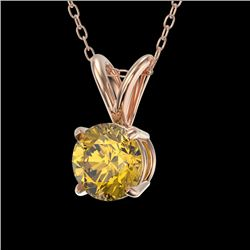 0.50 CTW Certified Intense Yellow SI Diamond Solitaire Necklace 10K Rose Gold - REF-61F8M - 33162