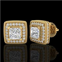 2.01 CTW Princess VS/SI Diamond Art Deco Stud Earrings 18K Yellow Gold - REF-245K5R - 37129