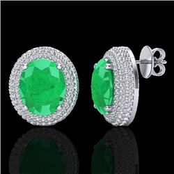 9.20 CTW Emerald & Micro Pave VS/SI Diamond Certified Earrings 18K White Gold - REF-190N2Y - 20223