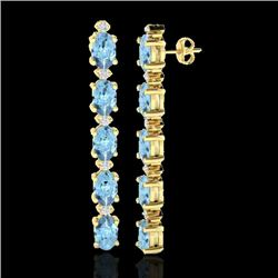 5 CTW Aquamarine & VS/SI Diamond Certified Tennis Earrings 10K Yellow Gold - REF-50N4Y - 21513