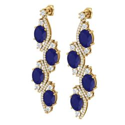 16.12 CTW Royalty Sapphire & VS Diamond Earrings 18K Yellow Gold - REF-272M8F - 38984