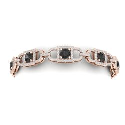 9 CTW Black And White Diamond Bracelet 18K Rose Gold - REF-375H2W - 40191