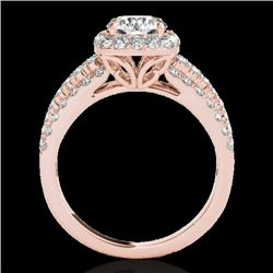 2 CTW H-SI/I Certified Diamond Solitaire Halo Ring 10K Rose Gold - REF-180X2T - 33999
