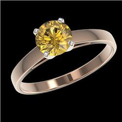 1 CTW Certified Intense Yellow SI Diamond Solitaire Engagement Ring 10K Rose Gold - REF-140N4Y - 329