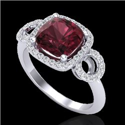 3.75 CTW Garnet & Micro VS/SI Diamond Certified Ring 18K White Gold - REF-65R3K - 23003