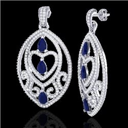 7 CTW Sapphire & Micro Pave VS/SI Diamond Heart Earrings Designer 18K White Gold - REF-381N8Y - 2116