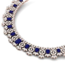 50.44 CTW Royalty Sapphire & VS Diamond Necklace 18K Rose Gold - REF-1654H5W - 39382