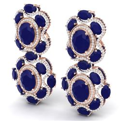 33.5 CTW Royalty Sapphire & VS Diamond Earrings 18K Rose Gold - REF-490X9T - 39316