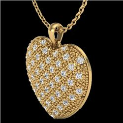 1.0 Designer CTW Micro Pave VS/SI Diamond Heart Necklace 14K Yellow Gold - REF-87F3M - 20491