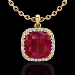 6 CTW Ruby & Micro Pave Halo VS/SI Diamond Necklace Solitaire 18K Yellow Gold - REF-85N5Y - 23085