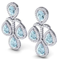 30.54 CTW Royalty Sky Topaz & VS Diamond Earrings 18K White Gold - REF-409R3K - 39369