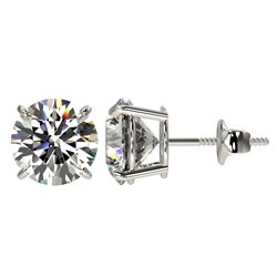 3.05 CTW Certified G-Si Quality Diamond Stud Earrings 10K White Gold - REF-633F3M - 36691