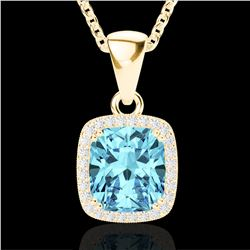 3.50 CTW Sky Blue Topaz & Micro VS/SI Diamond Halo Necklace 18K Yellow Gold - REF-48W9H - 22834