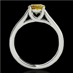1 CTW Certified Si Fancy Intense Yellow Diamond Solitaire Ring 10K White Gold - REF-138F2M - 35532
