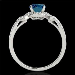 1.36 CTW SI Certified Fancy Blue Diamond Solitaire Ring 10K White Gold - REF-169M3F - 35327