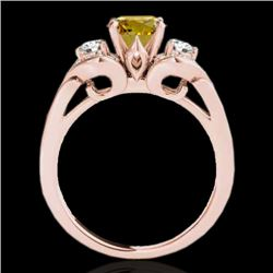 1.7 CTW Certified Si Intense Yellow Diamond 3 Stone Solitaire Ring 10K Rose Gold - REF-218R2K - 3534