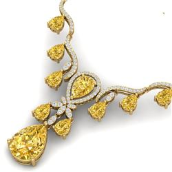 35.70 CTW Royalty Canary Citrine & VS Diamond Necklace 18K Yellow Gold - REF-618Y2N - 38603