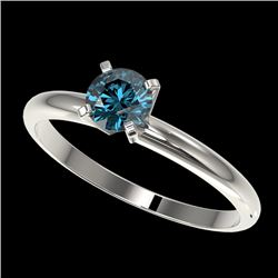 0.50 CTW Certified Intense Blue SI Diamond Solitaire Engagement Ring 10K White Gold - REF-41F3M - 32