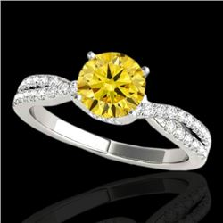 1.3 CTW Certified Si Fancy Intense Yellow Diamond Solitaire Ring 10K White Gold - REF-174X5T - 35280