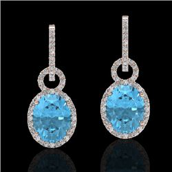 8 CTW Sky Blue Topaz & Micro Solitaire Halo VS/SI Diamond Earrings 14K Rose Gold - REF-90T8X - 22748