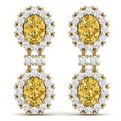 7.8 CTW Royalty Canary Citrine & VS Diamond Earrings 18K Yellow Gold - REF-180H2W - 38825