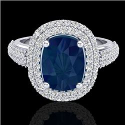 3.50 CTW Sapphire & Micro Pave VS/SI Diamond Certified Halo Ring 18K White Gold - REF-143H6W - 20723