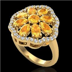 3 CTW Citrine & VS/SI Diamond Cluster Designer Halo Ring 10K Yellow Gold - REF-52K2R - 20778