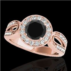 1.4 CTW Certified Vs Black Diamond Solitaire Halo Ring 10K Rose Gold - REF-76K9R - 34562