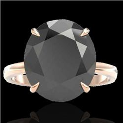 9 CTW Black VS/SI Diamond Certified Designer Engagement Ring 14K Rose Gold - REF-201Y6N - 22094