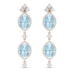 16.41 CTW Royalty Sky Topaz & VS Diamond Earrings 18K Rose Gold - REF-254N5Y - 38917
