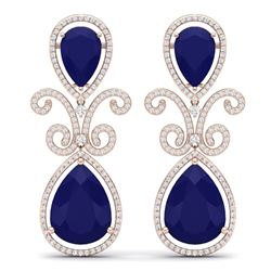 31.6 CTW Royalty Sapphire & VS Diamond Earrings 18K Rose Gold - REF-400H2W - 39547
