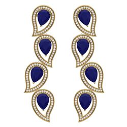 16.44 CTW Royalty Sapphire & VS Diamond Earrings 18K Yellow Gold - REF-318X2T - 39458