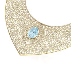 63.27 CTW Royalty Sky Topaz & VS Diamond Necklace 18K Yellow Gold - REF-2454N5Y - 39581