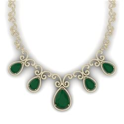 38.42 CTW Royalty Emerald & VS Diamond Necklace 18K Yellow Gold - REF-1218Y2N - 39527