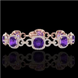 30 CTW Amethyst & Micro VS/SI Diamond Certified Bracelet 14K Rose Gold - REF-368H9W - 23016