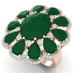 20.63 CTW Royalty Designer Emerald & VS Diamond Ring 18K Rose Gold - REF-327H3W - 39139