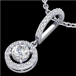 0.90 CTW Micro Pave Halo Solitaire VS/SI Diamond Certifiednecklace 18K White Gold - REF-115R8K - 232